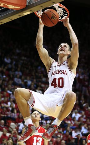 Indiana's Cody Zeller dunks during the second half of an NCAA college basketball exhibition game against Indiana Wesleyan, Thursday, Nov. 1, 2012, in Bloomington, Ind. Indiana won 86-57. (AP Photo/Darron Cummings)
