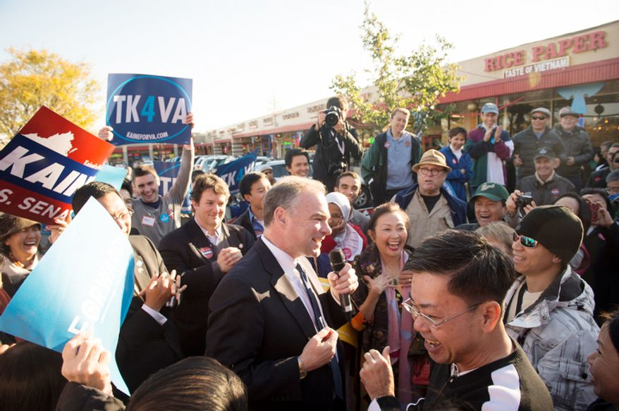With two days before Election Day, Democratic U.S. Senate candidate and former Virginia Governor Tim Kaine holds a rally at the Eden Center in Falls Church, Va., Sunday, Nov. 4, 2012. (Rod Lamkey Jr./The Washington Times)