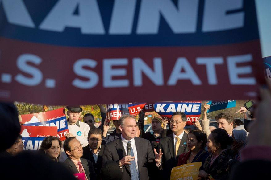 Democratic U.S. Senate candidate and former Virginia Governor Tim Kaine holds a rally at the Eden Center in Falls Church, Va., Sunday, Nov. 4, 2012. (Rod Lamkey Jr./The Washington Times)