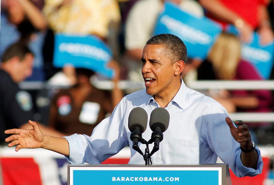 President Barack Obama speaks during a campaign event at McArthur High School in Hollywood, Fla. Sunday, Nov. 4, 2012. (AP Photo/Terry Renna)