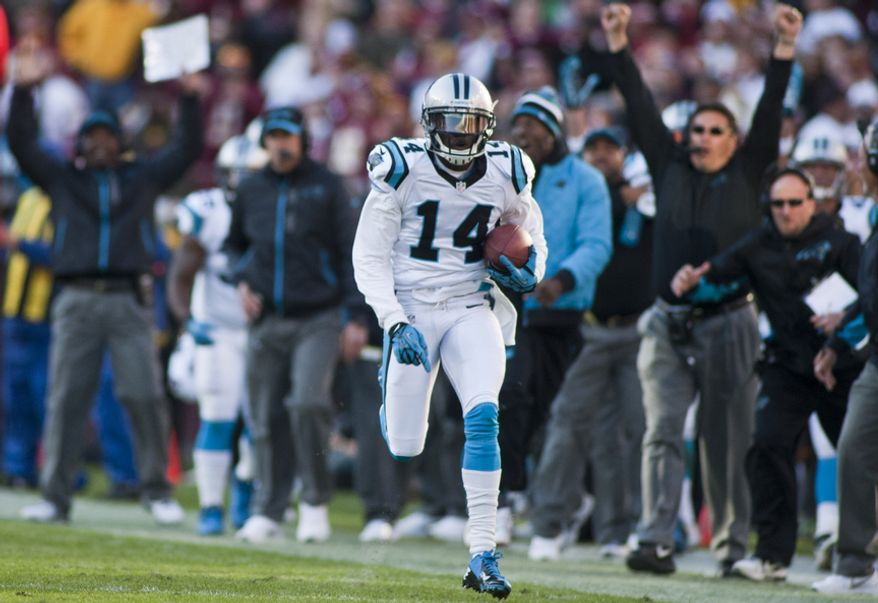 Carolina Panthers wide receiver Armanti Edwards (14) catches a pass for 82 yards in the fourth quarter against the Washington Redskins, Landover, Md., Sunday, November 4, 2012.  (Craig Bisacre/The Washington Times)