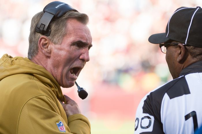 Washington Redskins head coach Mike Shanahan argues a play in the first quarter as the Washington Redskins take on the Carolina Panthers at FedEx Field, Landover, Md., Sunday, November 4, 2012. (Andrew Harnik/The Washington Times)