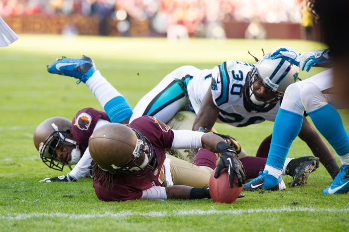 Washington Redskins wide receiver Brandon Banks (16) is stopped at the goal line on third down in the second quarter as the Washington Redskins take on the Carolina Panthers at FedEx Field, Landover, Md., Sunday, November 4, 2012. (Andrew Harnik/The Washington Times)