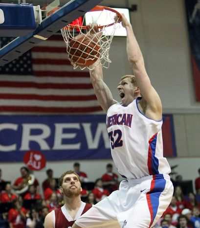 Stephen Lumpkins averaged 13.5 points and 8.2 rebounds for American in 2010-11. He was second team All-Patriot League. (American University Athletics)
