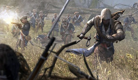 Connor on the attack in the video game Assassin's Creed III.