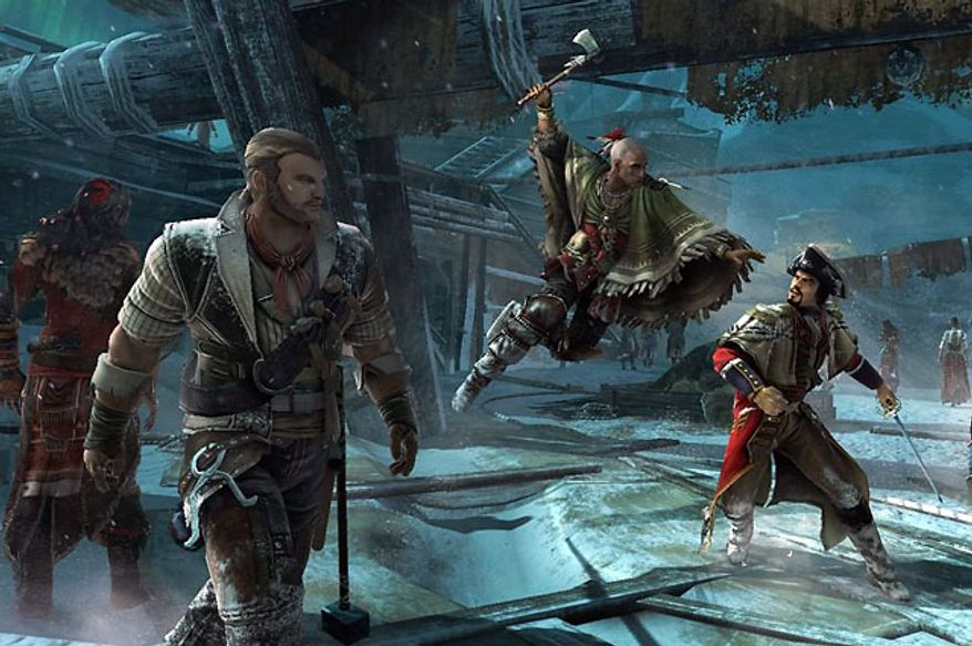 The action is intense in the multiplayer part of the video game Assassin's Creed III.