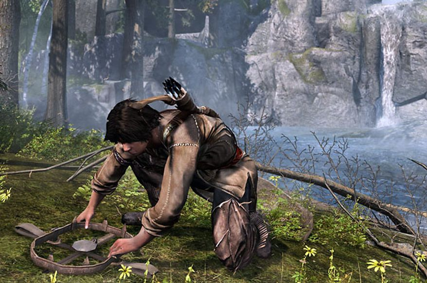Connor practices setting traps in the video game Assassin's Creed III.