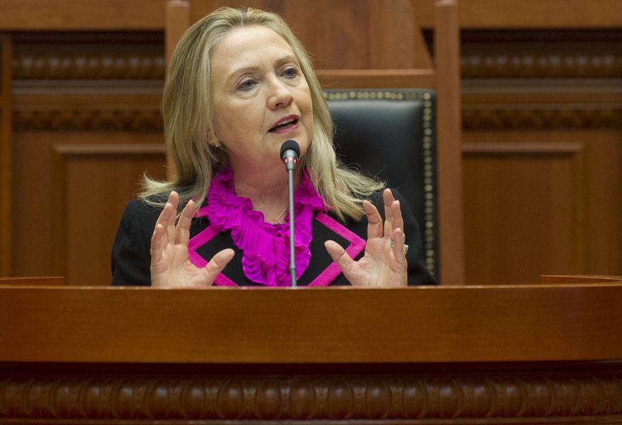 **FILE** Secretary of State Hillary Clinton speaks Nov. 1, 2012, to the Albanian Parliament in Tirana, Albania. (Associated Press)