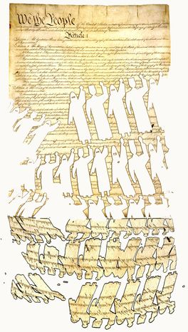 Illustration Cutting out the Constitution by John Camejo for The Washington Times