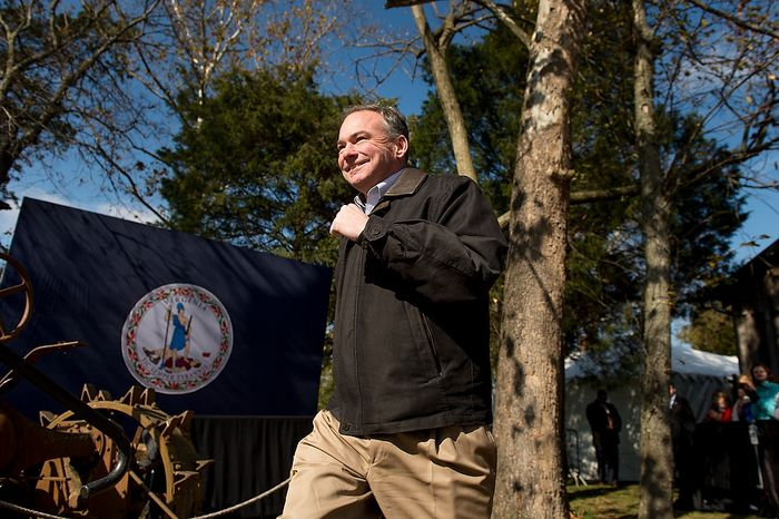 Democratic candidate for Senate Tim Kaine is welcomed to the stage by Sen. Jim Webb (D-Va.), and Sen. Mark Warner (D-Va.) at a campaign rally at the Heritage Farm Museum at Claude Moore Park, Sterling, Va., Monday, November 5, 2012. (Andrew Harnik/The Washington Times)