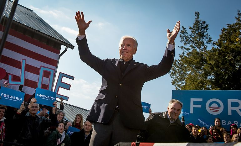 Vice President Joe Biden joins Virginia Democratic candidate for Senate Tim Kaine, right, at a campaign rally at the Heritage Farm Museum at Claude Moore Park, Sterling, Va., Monday, November 5, 2012. (Andrew Harnik/The Washington Times)