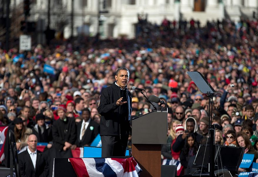 President Obama gestures as he speaks at a campaign event on Monday, Nov. 5, 2012, in Madison, Wis. (AP Photo/Carolyn Kaster)
