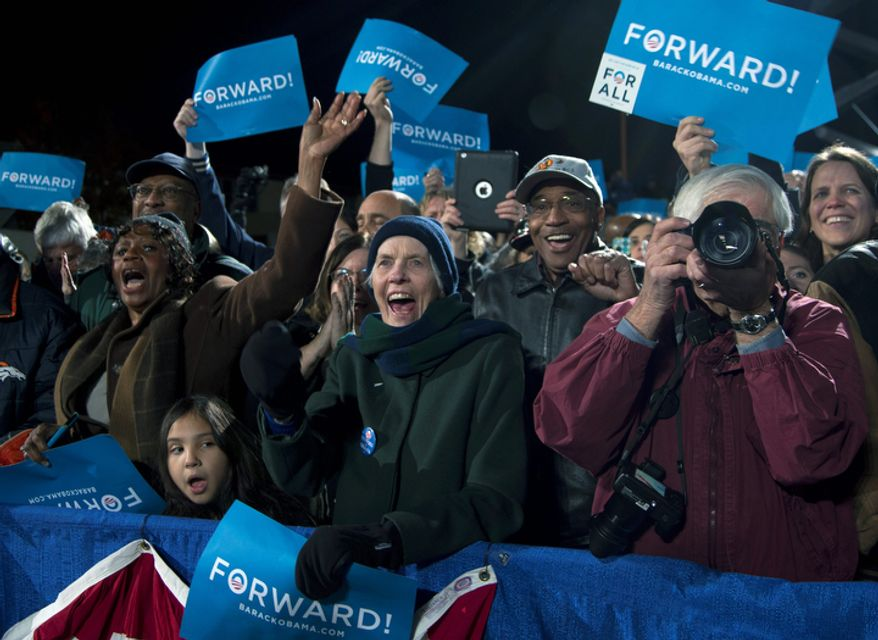 Supporters cheer as President Obama speaks Nov. 4, 2012, at a campaign event at the Community College of Aurora at Lowery in Aurora, Colo. (Associated Press)