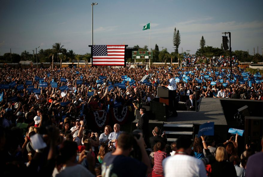 President Obama speaks Nov. 4, 2012, to supporters during a campaign event at McArthur High School in Hollywood, Fla. (Associated Press)