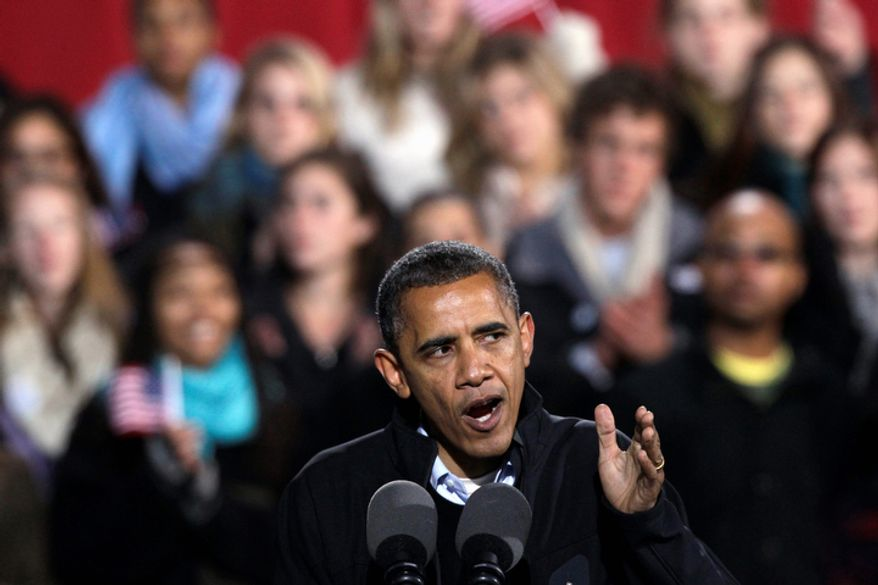President Obama speaks Nov. 4, 2012, at a campaign rally at the Community College of Aurora in Aurora, Colo. (Associated Press)