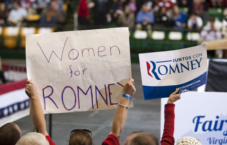 Supporters attend republican presidential candidate, former Massachusetts Gov. Mitt Romney campaign rally at The Patriot Center, George Mason University in Fairfax, Va., Monday, Nov. 5, 2012. (Craig Bisacre/The Washington Times)