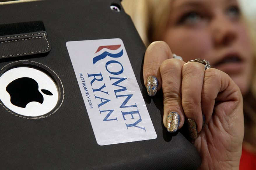 A supporter takes pictures of Republican vice presidential candidate, Rep. Paul Ryan, R-Wis., during a campaign, Monday, Nov. 5, 2012 in Des Moines, Iowa.  (AP Photo/Mary Altaffer)