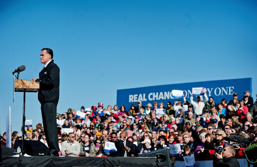 Republican presidential candidate, former Massachusetts Gov. Mitt Romney speaks to supporters at a campaign rally at Lynchburg Regional Airport in Lynchburg, Va., on Monday Nov..5, 2012. (AP Photo/News & Daily Advance, Jill Nance)