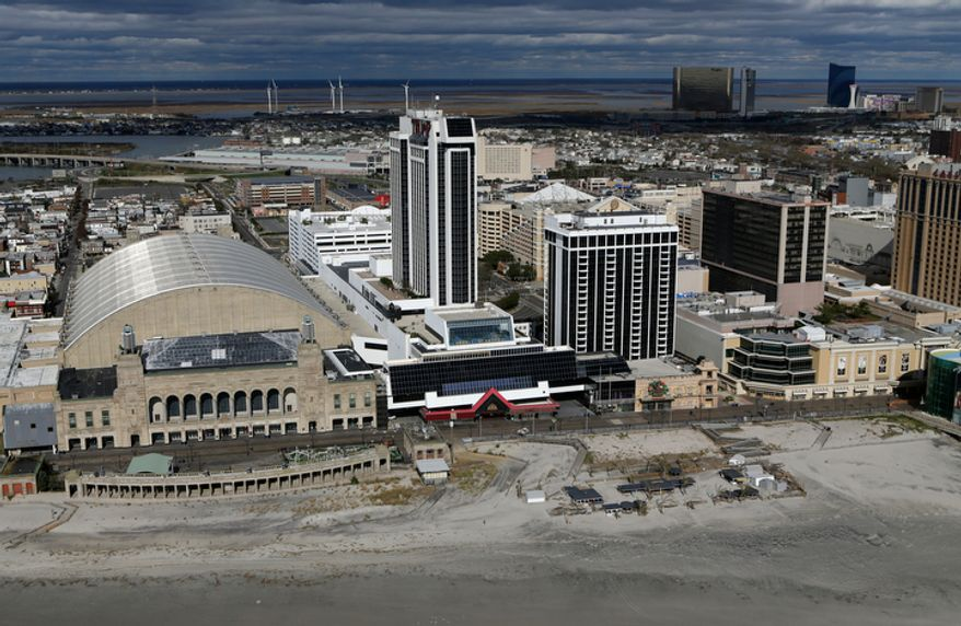 This aerial photo shows Atlantic City, N.J., after superstorm Sandy on Wednesday, Oct. 31, 2012. (AP Photo/Mike Groll)