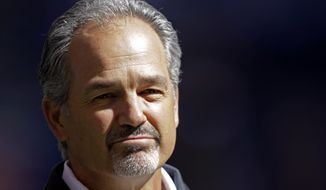 "FILE - In this Sept. 23, 2012, file photo, Indianapolis Colts head coach Chuck Pagano appears before an NFL football game against the Jacksonville Jaguars in Indianapolis. On Monday, Nov. 5, Dr. Larry Cripe, Pagano's physician, told The Associated Press that the Indianapolis coach's leukemia, which has sidelined him for more than a month, was in ""complete remission."" (AP Photo/AJ Mast, File)"