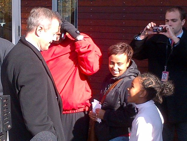 Maryland Gov. Matin O'Malley chats with Nolawit Weldetsadik, 8, and her mother, Aster, at the voting line outside the Silver Spring Civic Building on Tuesday morning (Tom Howell Jr./The Washington Times)