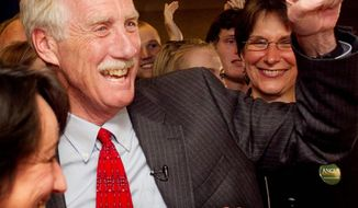 Sen.-elect Angus King, Maine independent, celebrates his victory Nov. 6, 2012, in Freeport, Maine. The win helps the moderate core in the Senate. (Associated Press)