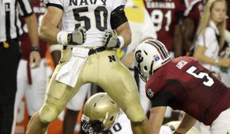 Navy linebacker Brye French has 56 tackles and three interceptions this season. (AP Photo/Brett Flashnick)