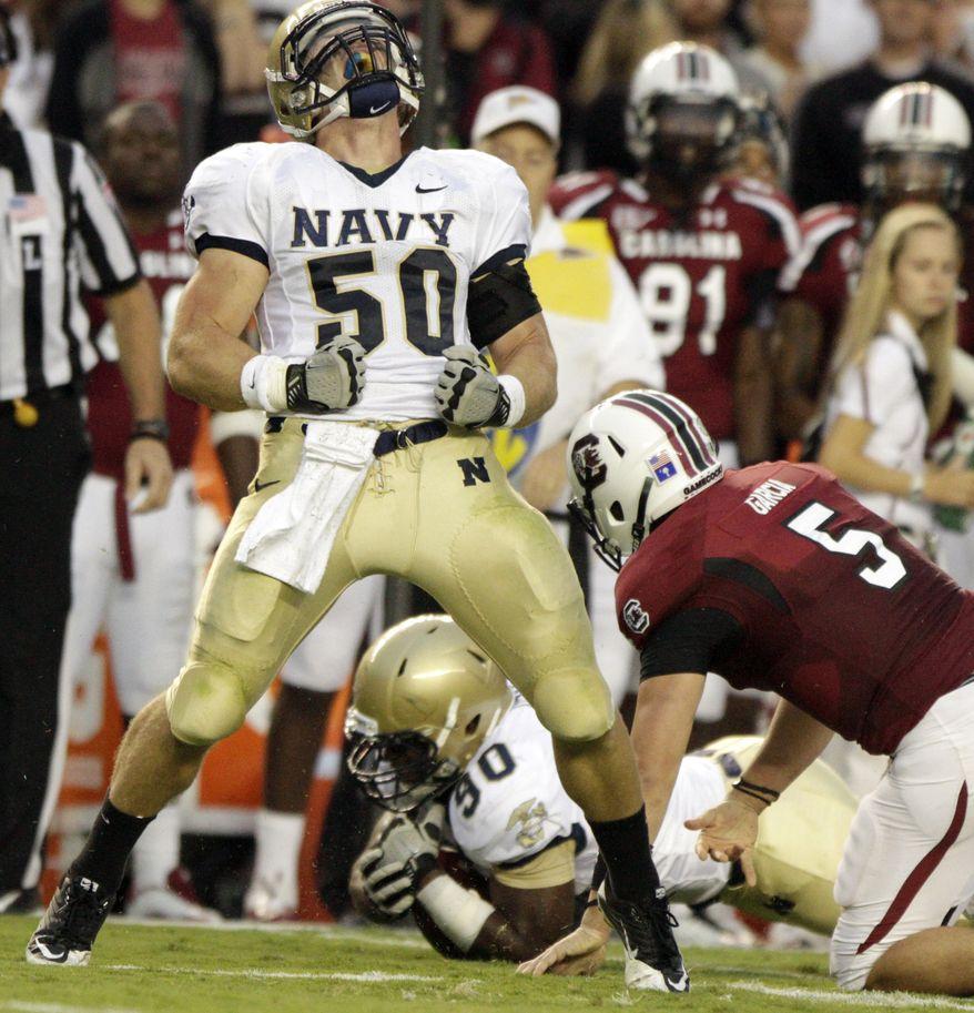 Navy linebacker Brye French has 56 tackles and three interceptions this season. (AP Photo/Brett Flashnick)