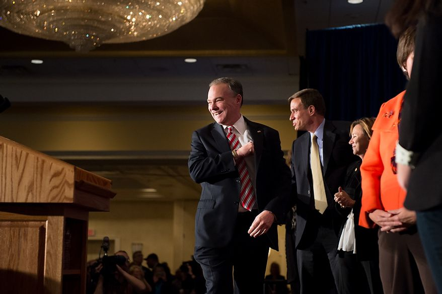 Tim Kaine (D) takes the podium to deliver his victory speech after winning the Virginia election for U.S. Senate at his election night party at the Richmond Marriott, Richmond, Va., Tuesday, November 6, 2012. (Andrew Harnik/The Washington Times)