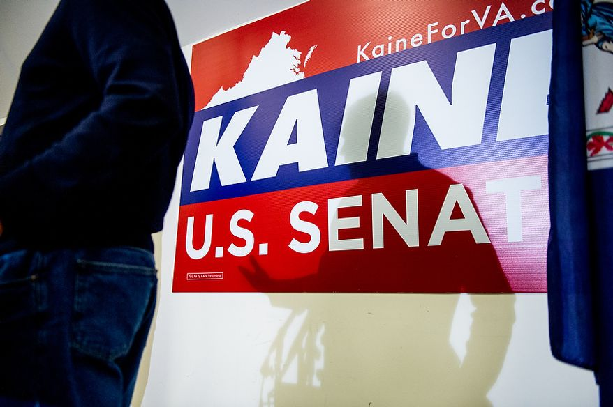 Virginia Senator Elect Tim Kaine (D) speaks at a press conference at Kaine for Virginia's Richmond headquarters the day after after winning the election, Richmond, Va., Wednesday, November 7, 2012. (Andrew Harnik/The Washington Times)