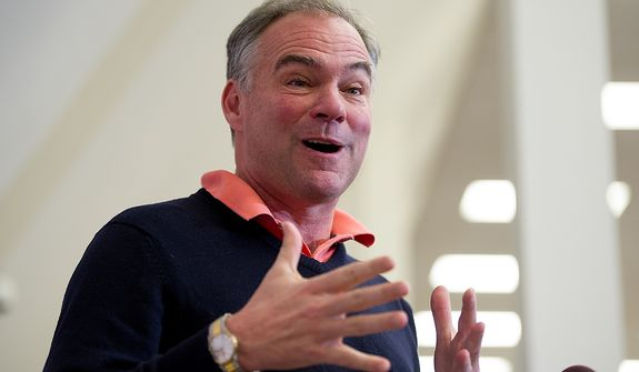 Virginia Sen.-elect Tim Kaine speaks at a press conference at his campaign headquarters in Richmond, Va., on Nov. 7, 2012, the day after after winning the election. (Andrew Harnik/The Washington Times)