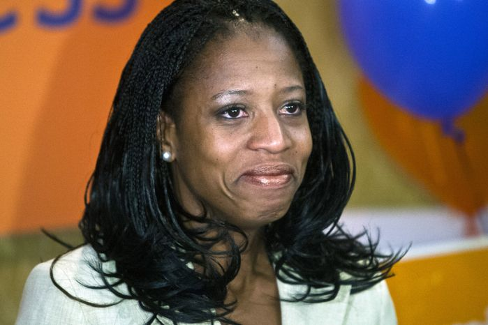 ** FILE ** Republican congressional candidate Mia Love concedes to the Democratic incumbent, Rep. Jim Matheson, during the Utah GOP election-night party on Tuesday, Nov. 6, 2012, in Salt Lake City. (AP Photo/The Salt Lake Tribune, Chris Detrick)