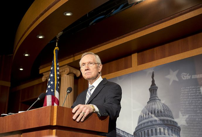 Senate Majority Leader Harry Reid, Nevada Democrat, holds a press conference on Wednesday, Nov. 7, 2012, at the U.S. Capitol in Washington. Mr. Reid said he intends to change Senate filibuster rules following President Obama's win in the general election the previous day and that he hopes Republicans will work with the Democrats to solve some of the country's major issues. (Barbara L. Salisbury/The Washington Times)