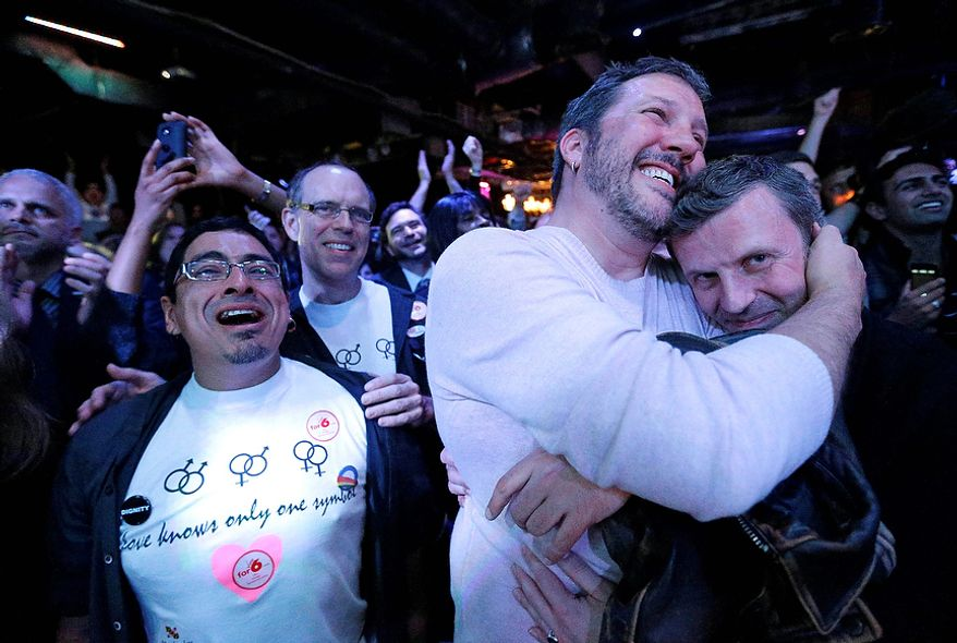 Partygoers react at an Election Night party in Baltimore on Nov. 6, 2012, after voters passed a referendum approving same sex marriage in Maryland. (Associated Press)
