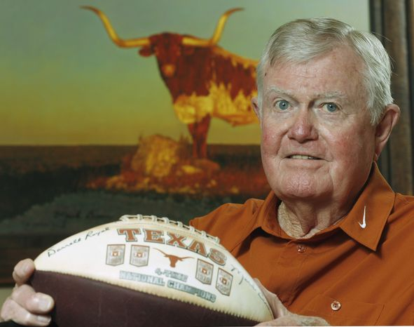 FILE - This Sept. 18, 2007 file photo shows former Texas head football coach Darrell Royal posed at his apartment complex in Austin, Texas. The University of Texas says Royal, who won two national championships and a share of a third, has died. He was 88. UT spokesman Nick Voinis on Wednesday, Nov. 7, 2012 confirmed Royal's death in Austin. (AP Photo/Harry Cabluck)