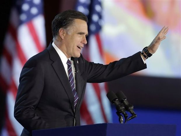 Republican presidential candidate and former Massachusetts Gov. Mitt Romney waves to supporters during his election night rally, Wednesday, Nov. 7, 2012, in Boston. (AP Photo/David Goldman)