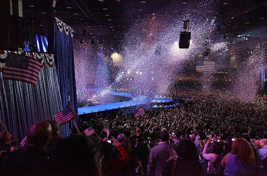Confetti covers the stage after President Barack Obama speaks at his election night party Wednesday, Nov. 7, 2012, in Chicago. President Obama defeated Republican challenger former Massachusetts Gov. Mitt Romney. (AP Photo)