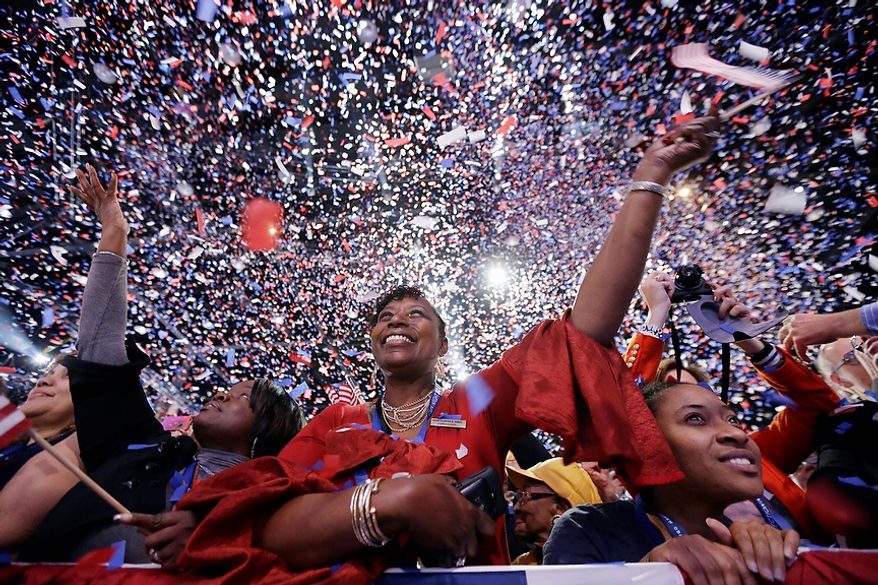 Supporters cheer at the end of President Barack Obama remarks during an election night party, early Wednesday, Nov. 7, 2012, in Chicago. Obama defeated Republican challenger former Massachusetts Gov. Mitt Romney. (AP Photo/Matt Rourke)