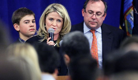 Wendy Long, the Republican candidate for U.S. Senate in New York, gives her concession speech to supporters on Election Day, Tuesday, Nov. 6, 2012, in New York.  (AP Photo/Frank Franklin II)