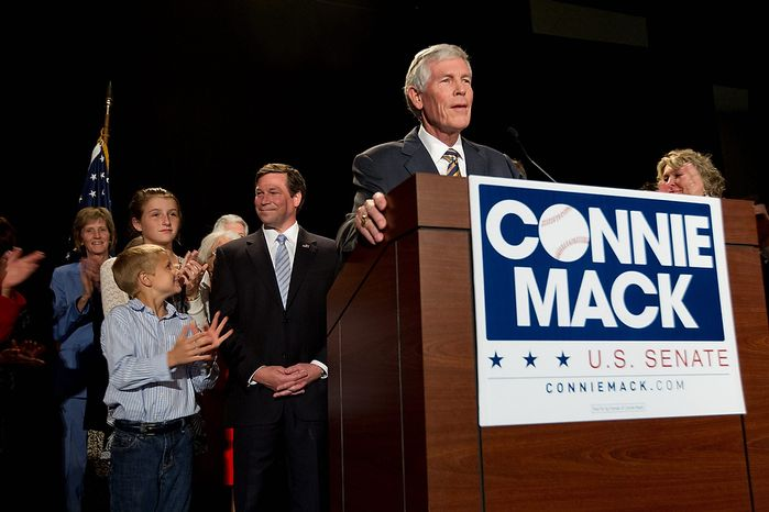 Connie Mack III, right, introduces his son U.S. Rep. Connie Mack IV, center, during a watch party in Bonita Springs, Fla. Tuesday, Nov. 6, 2012. Mack conceded the Senate race to incumbent Bill Nelson. Nelson won even though he was up against a sitting congressman whose father once held the Senate seat _ and whose great-grandfather was a baseball Hall of Famer. (AP Photo/J Pat Carter)