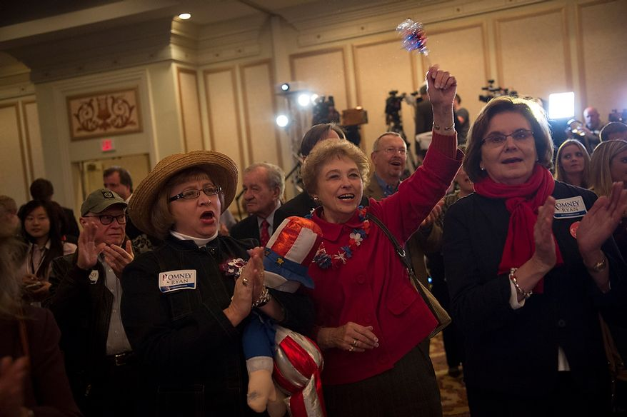 Sandy Weakley (left) of Ashland, Va., Brenda Johnson (center) of Mechanicsville, Va., and Gloria Hatchel (right) of Mechanicsville, Va., cheer on speakers at Republican U.S. Senate candidate and former Virginia Governor George Allen's election night party event at the Omni Richmond Hotel in Richmond, Va., Tuesday, Nov. 6, 2012. (Rod Lamkey Jr./The Washington Times)