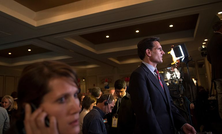 House Majority Leader Rep. Eric Cantor (R-VA, 7th congressional district) prepares to be interviewed by CBS News at Republican U.S. Senate candidate and former Virginia Governor George Allen's election night party event at the Omni Richmond Hotel in Richmond, Va., Tuesday, Nov. 6, 2012. (Rod Lamkey Jr./The Washington Times)