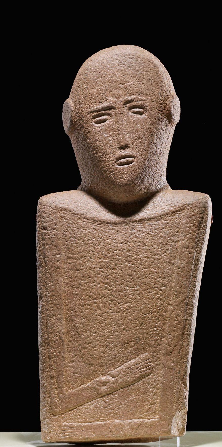 Anthropomorphic stele, sandstone, 4th millennium B.C.