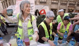 """Senior citizens support others' protests and stage """"pranks"""" of their own in a fight for economic reform in Spain. (Oscar Martinez/Special to The Washington Times)"""