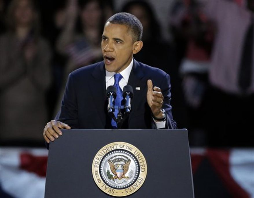 **FILE** President Obama speaks Nov. 7, 2012, at his election night party in Chicago. (Associated Press)