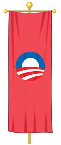 Illustration Obama's Socialist Flag by Alexander Hunter for The Washington Times