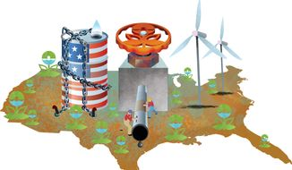 Illustration Environmental Battlegrounds by Linas Garsys for The Washington Times