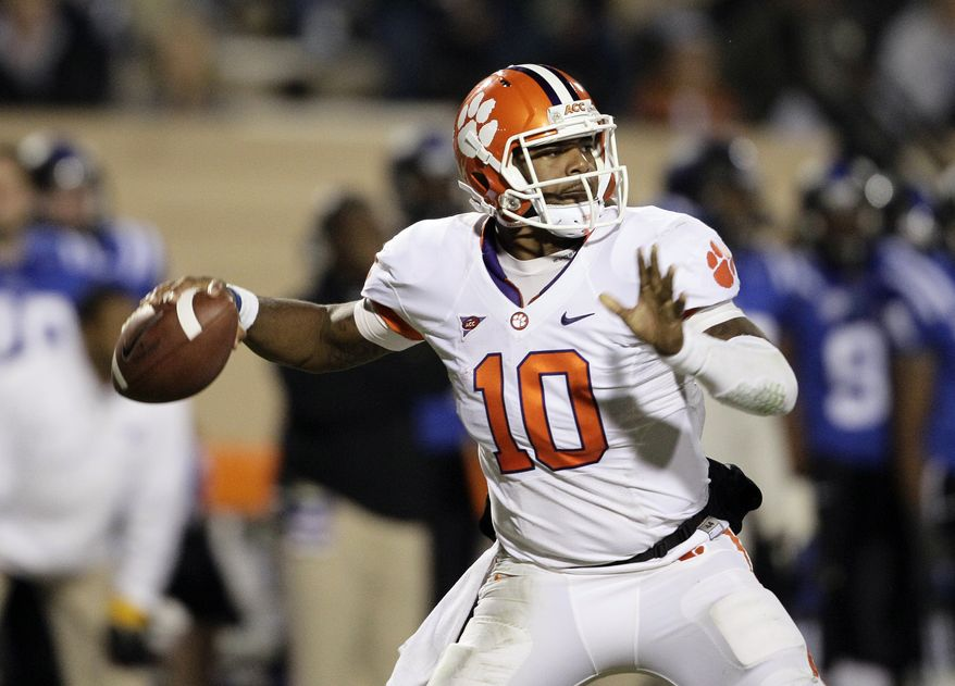 Clemson quarterback Tajh Boyd (10) looks to pass against Duke during the first half of an NCAA college football game in Durham, N.C., Saturday, Nov. 3, 2012. (AP Photo/Gerry Broome)
