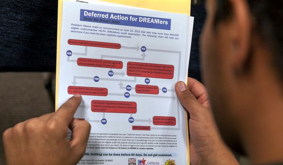 A legal immigrant reads a guide of the conditions needed to apply for the so-called 'DREAMers' Obama program, formally known as Deferred Action for Childhood Arrivals (DACA), at the Coalition for Humane Immigrant Rights offices in Los Angeles on Aug. 15, 2012. Hundreds of thousands of young illegal immigrants scrambled to get papers in order as the U.S. started accepting applications to allow them to avoid deportation and get a work permit, but not a path to citizenship. (Associated Press) **FILE**