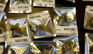** FILE ** Medical marijuana is packaged for sale in 1-gram packages at the Northwest Patient Resource Center medical marijuana dispensary in Seattle on Nov. 7, 2012. (Associated Press)